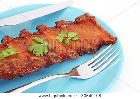 Grilled Bbq Pork Ribs On Plate