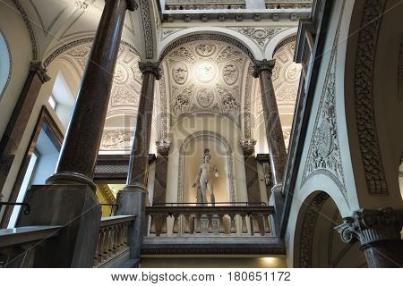 ROME ITALY - MARCH 26 2017: Palazzo Braschi staircase large Neoclassical palace located between the Piazza Navona houses the Museo di Roma