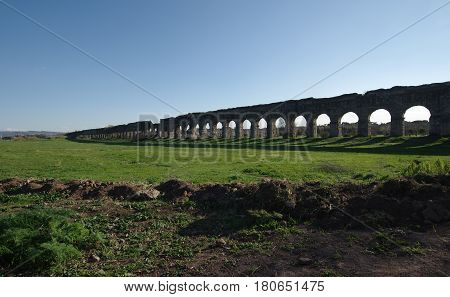 Aqueduct park or Parco degli Acquedotti the ruins of Ancient Roman aqueducts in Rome Italy.