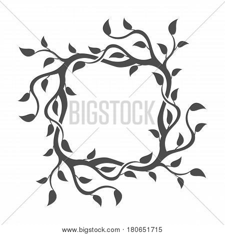 Frame from leaves. Decorative deciduous element. Vector.