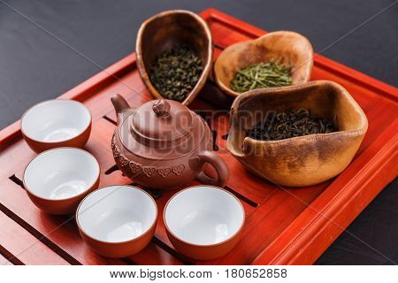 Set Of Teapot, Three Kinds Of Tea And Four Bowls