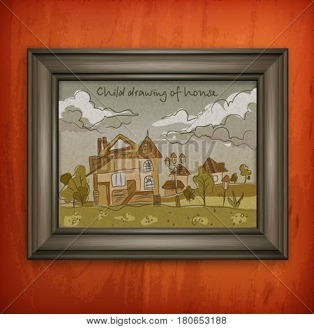 Child hand drawing picture with house in pastel color doodle style house paint in frame on wall vector illustration