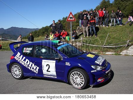 Monte Penna - 26 October 2011 - Rally Ronde Val D'Aveto: The PEUGEOT 206 of the racing team