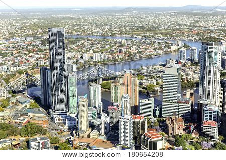 BRISBANE, AUSTRALIA - OCTOBER 18 2016: Aerial view of Brisbane riverside looking towards New Farm and the riverwalk