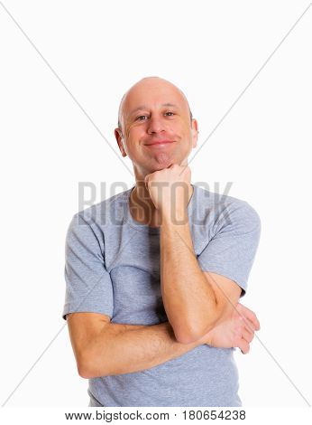 Baldheaded Man In Front Of White Background