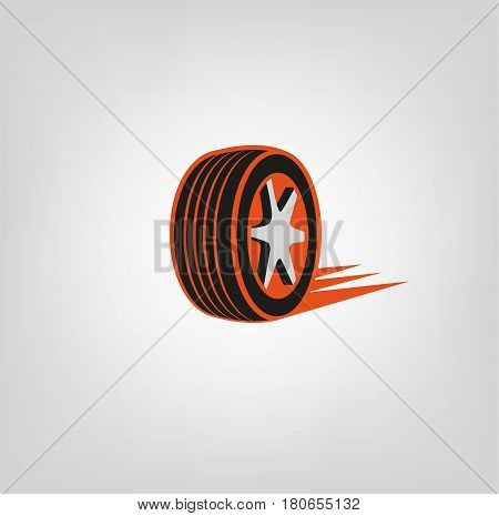 Car tire icon in dark grey and orange colours useful for icon and logotype design on a light background. Realistic graphic style. Digital pictogram collection. Beautiful vector illustration