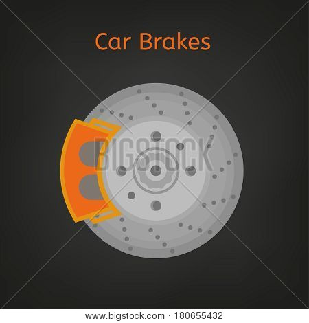 Car brake discs system spare part in a flat style. Auto repair sign. Automobile vector illustration in grey and orange colours isolated on a dark background.