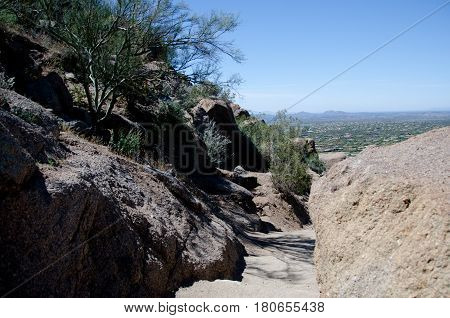Trail Pass Between Granite Rocks  At Pinnacle Peak