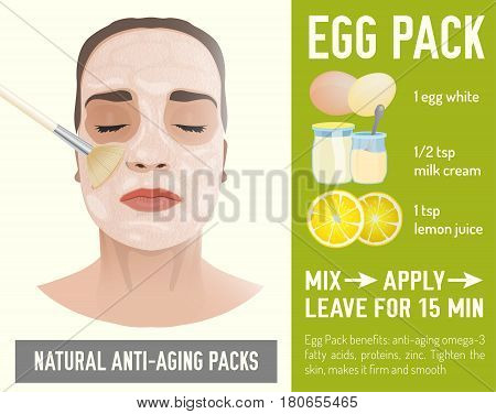 Beautiful woman with the handmade anti-aging face-pack during the cosmetological procedure. Vector illustration with egg pack recipe in natural colours isolated on a green background.