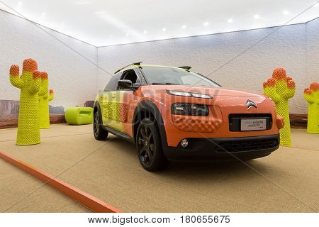 MILAN ITALY - APRIL 7: Citroen C4 Cactus on display at Fuorisalone set of events distributed in different areas of the town during Milan Design Week on APRIL 7 2017 in Milan.