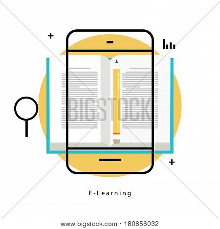 E-learning, online education flat line vector illustration design. Distance education, online trainings, courses, internet studying, online book, tutorials design for mobile and web graphics