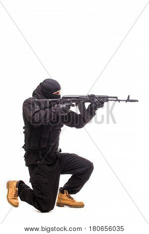 Terrorist With Weapon On A White