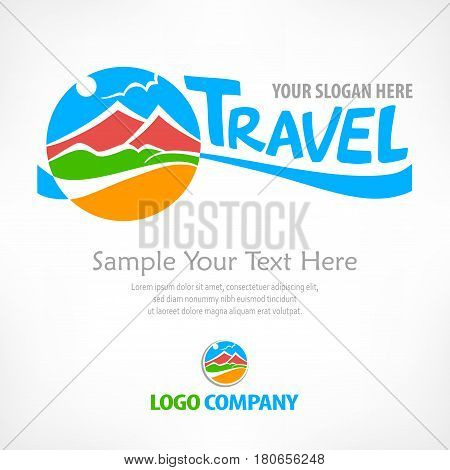 Travel logo color round symbol with stylized landscape and text concept sign for travel agency vector illustration