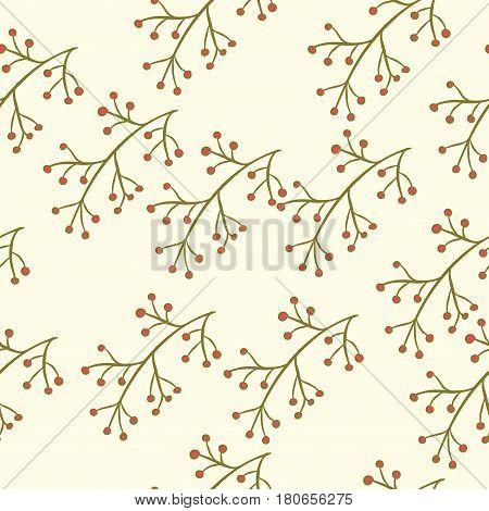 Seamless Berry Branch Pattern