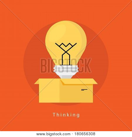 Thinking outside the box flat business vector illustration design banner. Creative thinking, education, research, creative idea, trainings, courses, tutorials. Design for mobile and web graphics