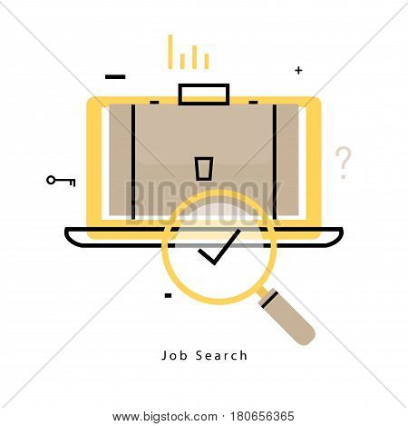 Online job search, online job, freelance work flat line vector illustration design. Online career opportunities, trainings and courses design for mobile and web graphics