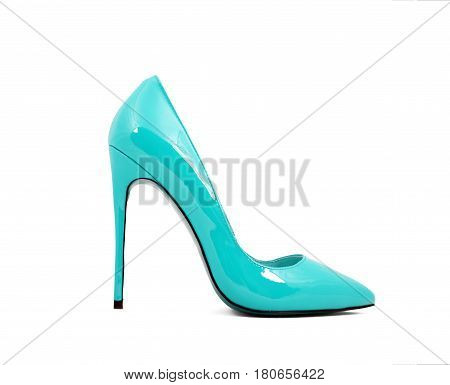 blue female shoes on high heels isolated on white background
