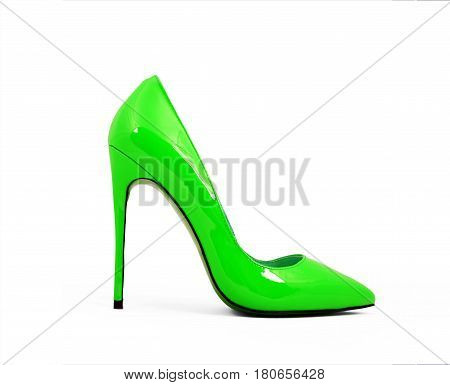 green female shoes on high heels isolated on white background