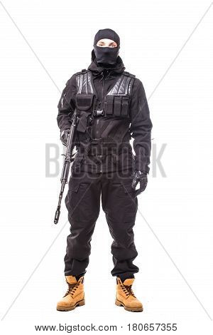 Army Soldier Man Portrait On Guard On Studio Isolated On White Background