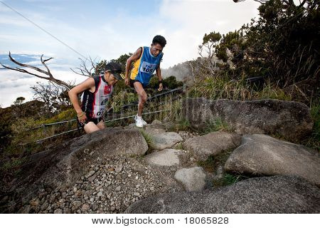 MT KINABALU, SABAH - OCT 25: Unidentified participants climb up Mt Kinabalu in the International Climbathon held on October 25, 2009 in Mt Kinabalu, Malaysia.