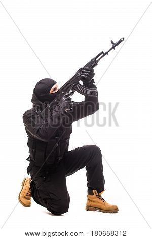 Army Soldier Man With Gun Aim Up On Studio Isolated On White Background