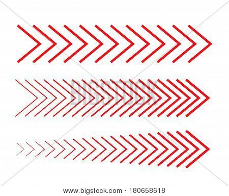 sideways Set Linear signs collection Arrow Design four Striped direction