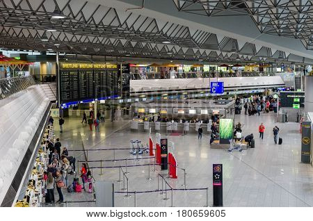 FRANKFURT, GERMANY - April 07, 2017: Inside of Frankfurt Airport. Frankfurt Airport is a major international airport located in Frankfurt and the major hub for Lufthansa
