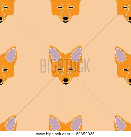 Vector image of seamless pattern of fox muzzles