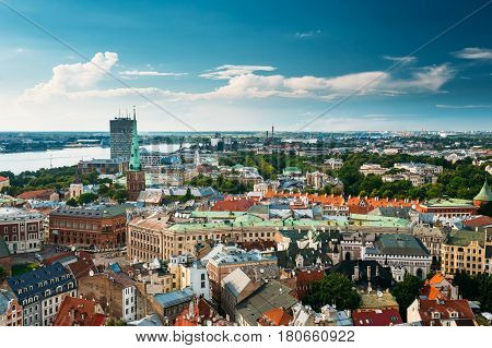 Riga, Latvia - July 1, 2016: Riga, Latvia. Summer Riga Cityscape. Top View On Famous Landmark - St. James's Cathedral, or the Cathedral Basilica of St. James. The church is sometimes wrongly called St. Jacob's.