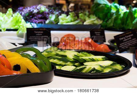 Salad Bar in the department store vivid tone