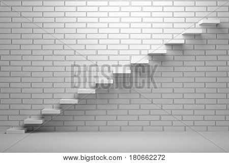 Forward achievement progress concept - Ascending stairs of rising staircase in dark empty room with red bricks wall with spot light 3d illustration