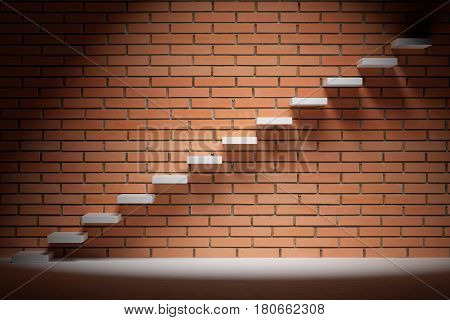 Business rise forward achievement progress way success and hope creative concept - Ascending stairs of rising staircase in dark empty room with red brick wall with spot light 3d illustration