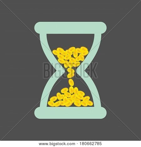 Time is money. Time management abstract illustration. Time management business concept. Hourglass with yellow coins with a dollar sign.