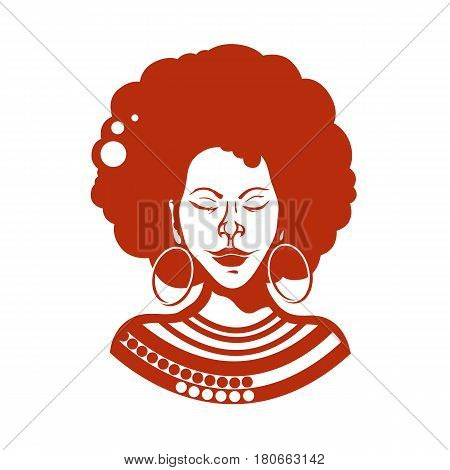 Portrait of an African girl with closed eyes. Haircut, curly hair of medium length. Traditional ornaments. Vector illustration.