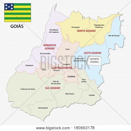 goias administrative and political map with flag