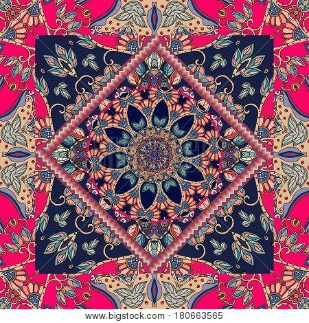 Bandana print. Ethnic pattern. Carpet, tablecloth, wrapping design.