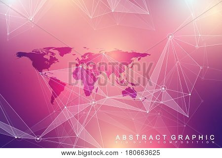 Geometric graphic background communication. Big data complex with Political World Map. Particle compounds. Network connection, lines plexus. Minimalistic chaotic design, vector illustration