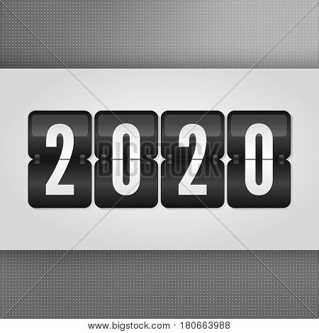 2020 Happy New Year Scoreboard. Grey black and white vector flip symbol on dotted background. Infographic sign