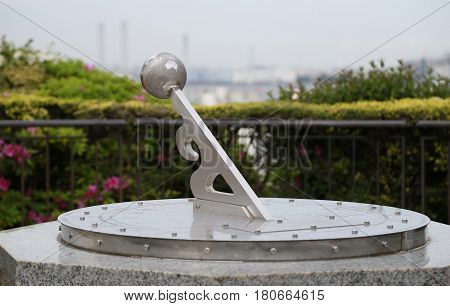 Sundial of the park on a sunny day