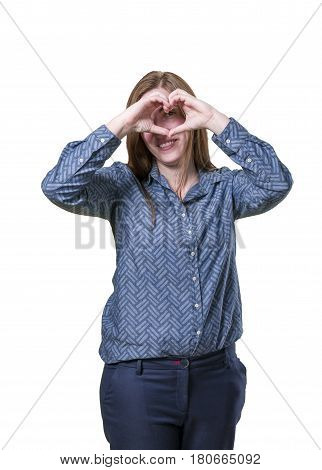 Woman Making A Heart With Her Hands On White Background
