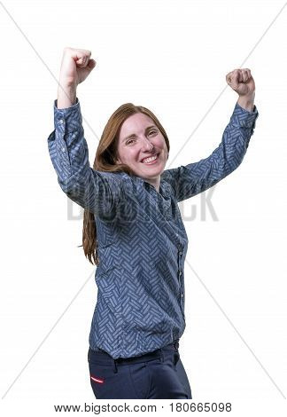 Pretty Business Woman Celebrate A Victory Over White Background.