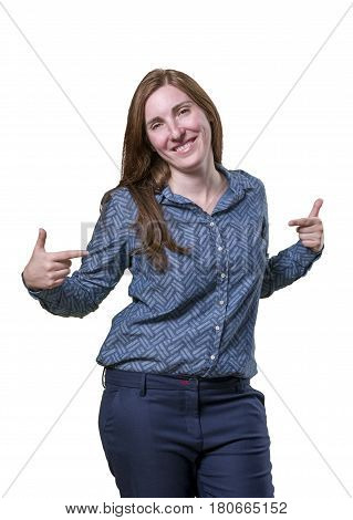 Pretty Business Woman Pointing Herself Over White Background
