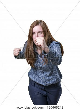 Pretty Business Woman With A Raised Fist Over White Background