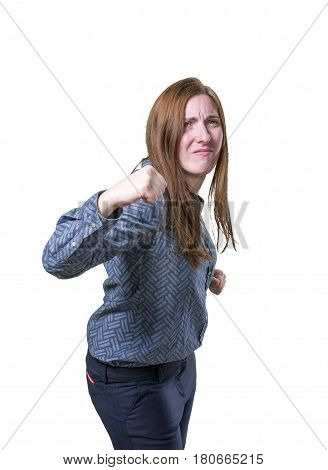 Pretty Business Woman Frustrated Over White Background