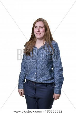 Pretty Business Woman Worried Over White Background.