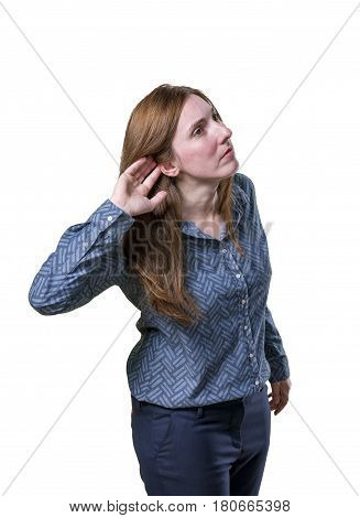 Pretty Business Woman Listening Something Over White Background
