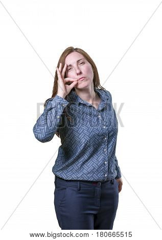 Pretty Business Woman Making Silence Gesture Over White Background.