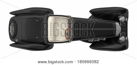 black retro car cabriolet top view isolated on white 3d rendering