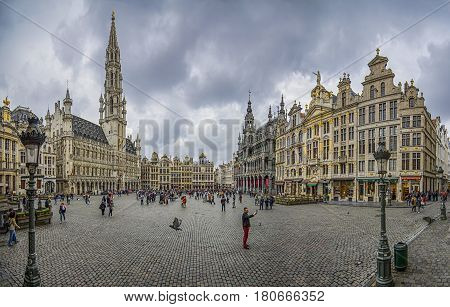 BRUSSELS, BELGIUM - APRIL 1, 2017: Grand Place or Grote Markt, the central square of Brussel