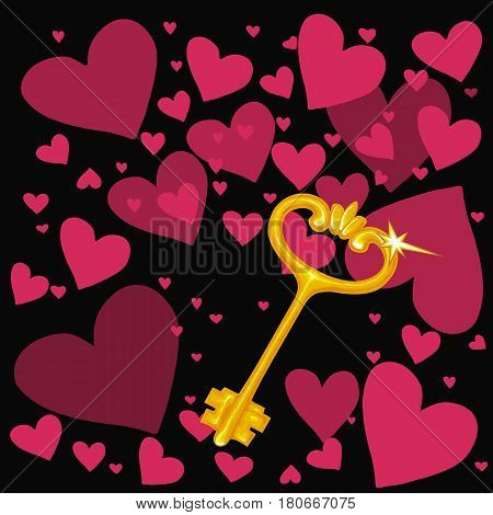 Painted in the style of a picturesque pattern vector illustration of a golden key on the background of symbolic hearts